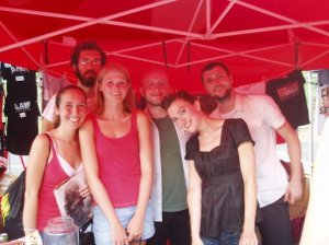 My friend and I with Straylight Run (We're the two girls to the left)