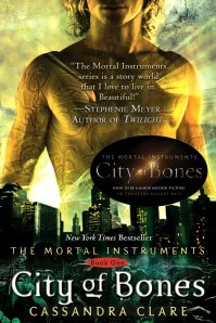 City of Bones book cover; image from this excellent review at http://blackanddarknight.wordpress.com/2013/03/28/book-review-city-of-bones-by-cassandra-clare/