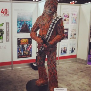 A life-sized Chewbacca Lego statue